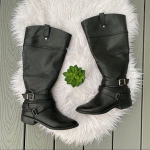 Shoes - Black Wide Calf Riding Boots
